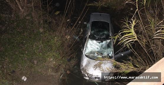 Otomobil Kanala Düştü 2 Yaralı