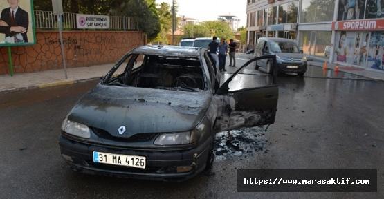 Otomobil Yandı Baba Oğul Yaralandı