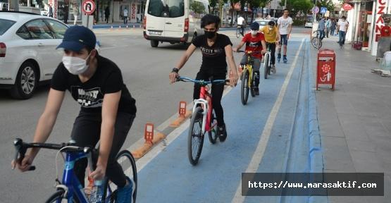 Elbistan'da Bisiklet Yolu Yapıldı