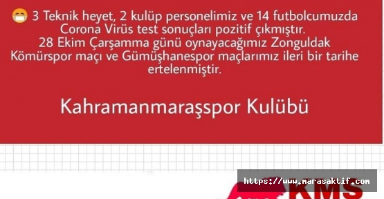 Kahramanmaraşspor'da 19 Kişi Covid-19 Oldu