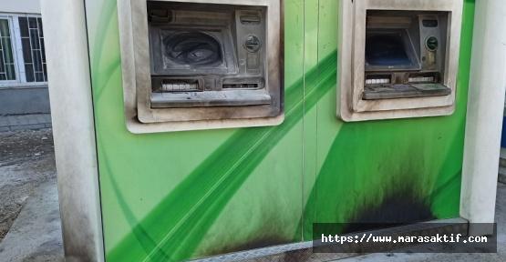 Afşin'de Bankamatik Kundaklandı