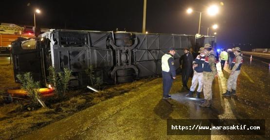 Kahramanmaraş'ta Otobüs Devrildi 14 Yaralı
