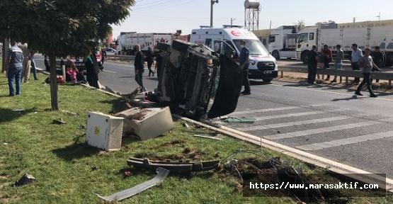 Otomobille Çarpıştı Yan Yattı 5 Yaralı