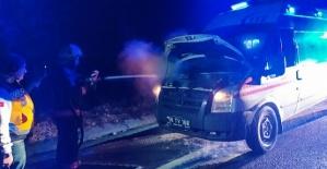 Ambulans Hasta Taşırken Yandı