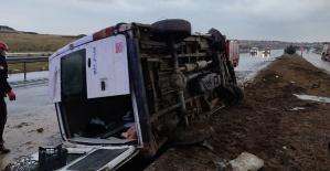 Kahramanmaraş'ta Minibüs Yan Yattı 6 Yaralı
